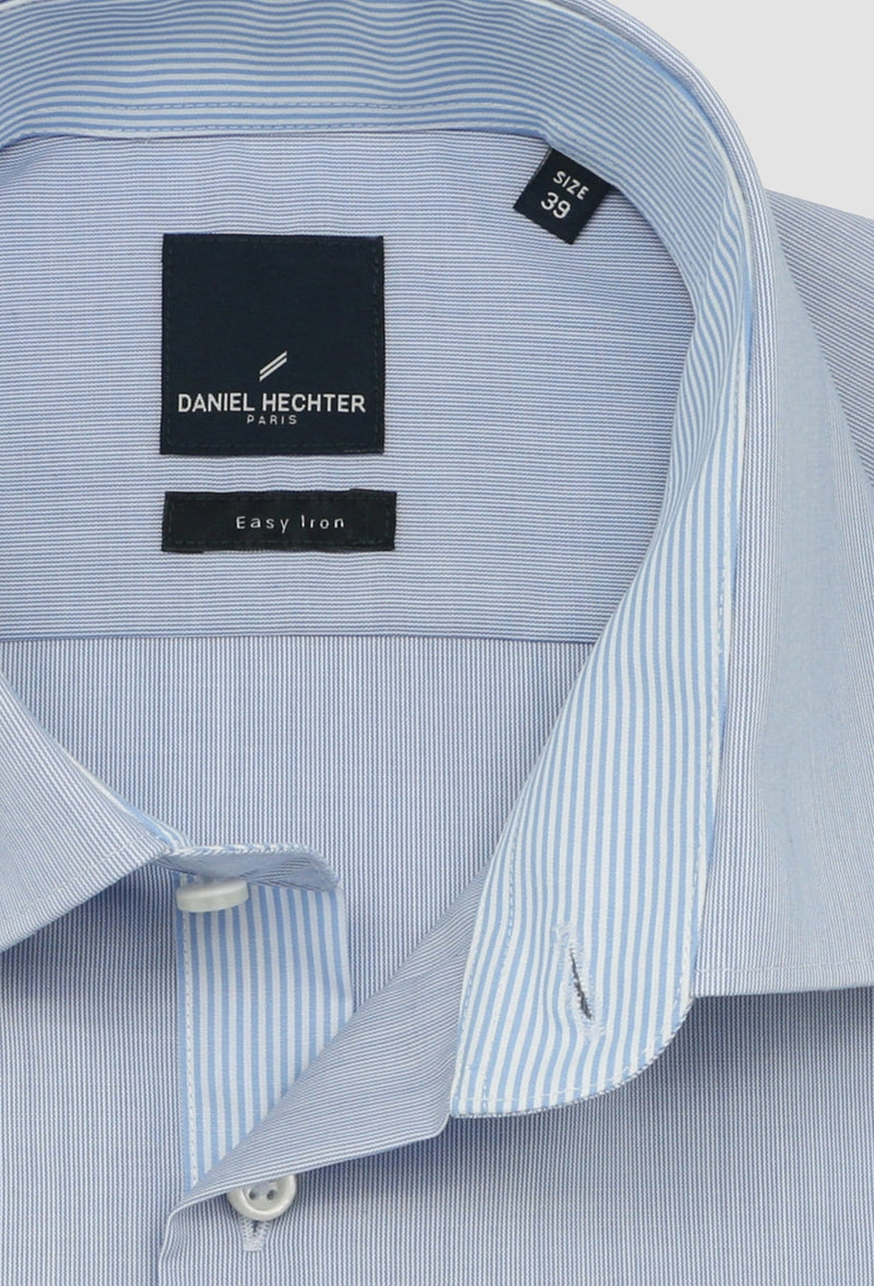 a close up view of the collar detail on the daniel hechter shape business shirt in blue STDS598-12