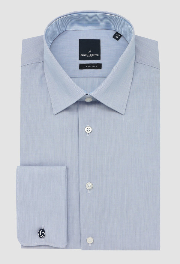 the slim fit daniel hechter shape business shirt in blue STDS598-12 folded on a grey background