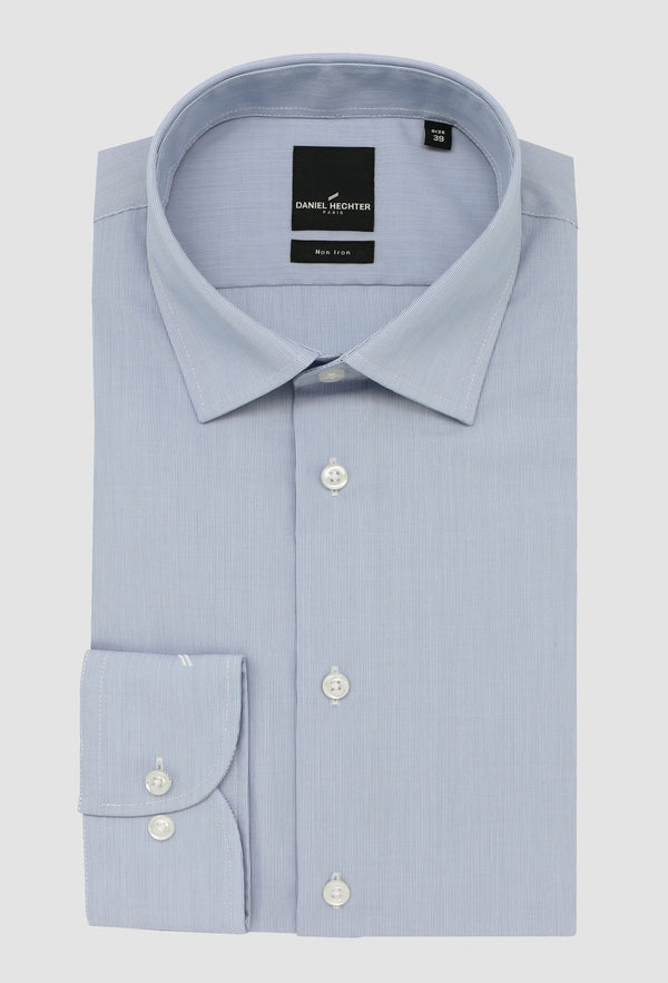 Daniel Hechter slim fit shape business shirt in blue STDS598 pure cotton folded on a grey background
