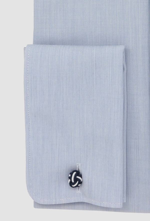 a close up view of the french cuff detail on the daniel hechter slim fit shape business shirt in blue pure cotton STDS598-12