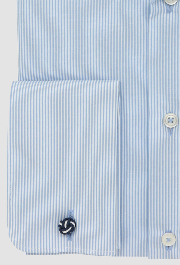 the daniel hechter slim fit shape shirt in blue striped cotton with french cuff detail shown close up