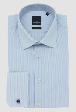 the daniel hechter slim fit shape shirt in blue striped cotton with french cuff folded on a grey background