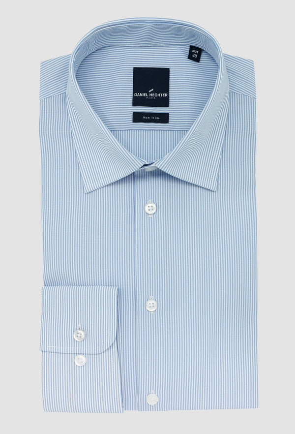 the dadniel hechter slim fit shape shirt with normal cuff folded on a grey background