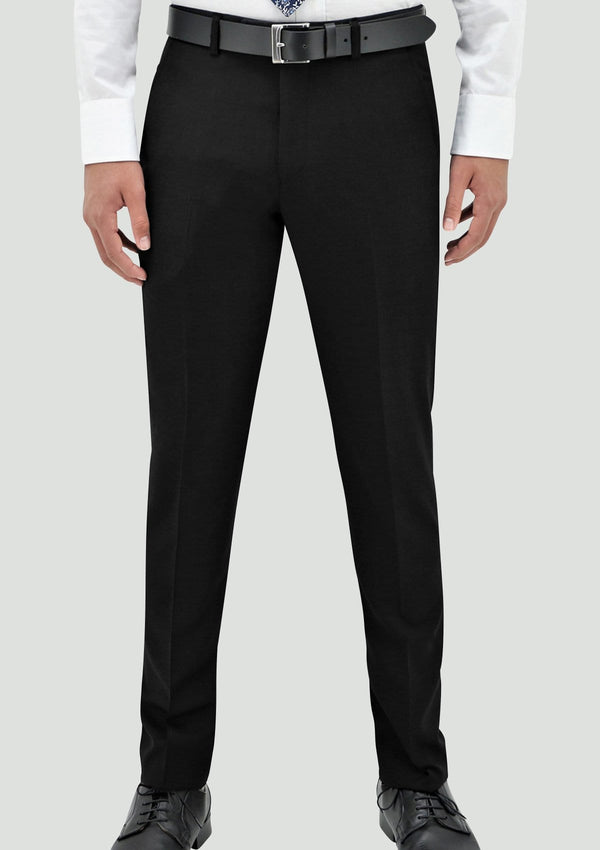 a front view of the Daniel Hechter slim fit edward mens suit trouser in black pure wool STDH106-01