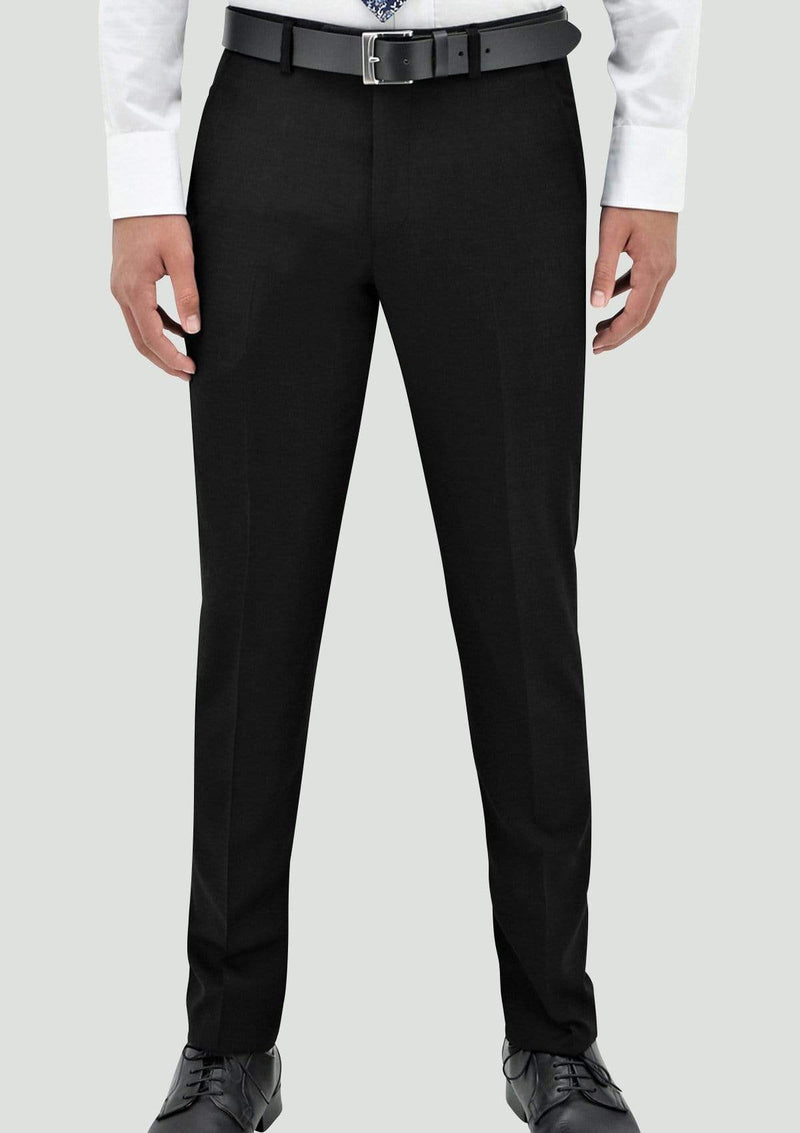 a front view of the daniel hechter edward suit trouser in black pure wool STDH106-01