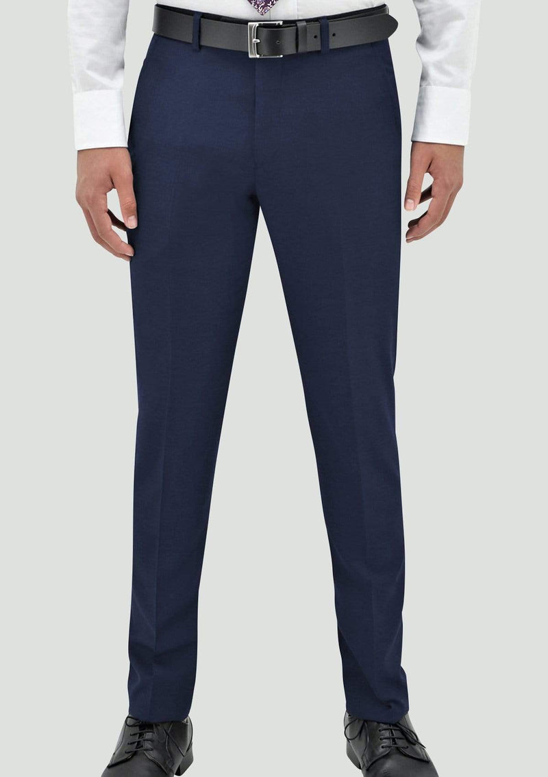 a white shirt with the daniel hechter slim fit edward trouser in blue merino wool STDH106-15-EDWARD