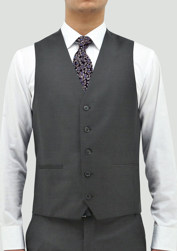 a close up view of the daniel hechter slim fit mens ryan vest in grey merino wool STDH106-04.