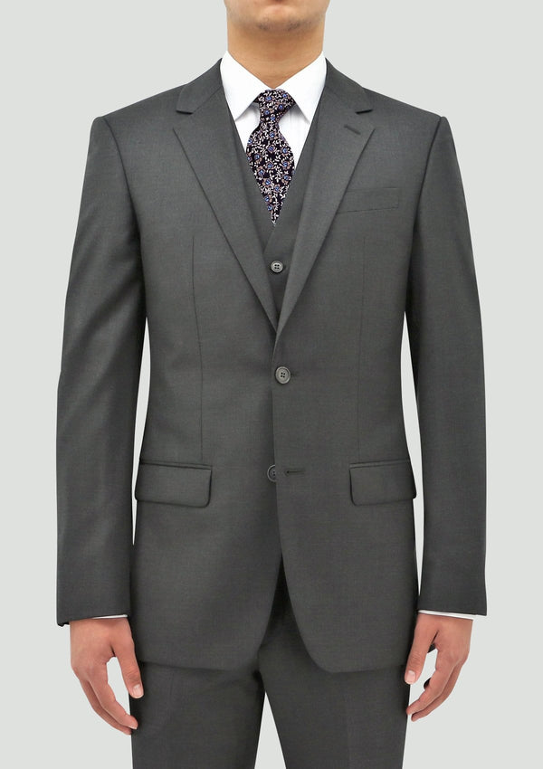 slim fit shape suit by daniel hechter in grey merino wool DH106-04