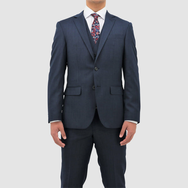 slim fit daniel hechter michel suit in blue pure wool DH101-12 front view