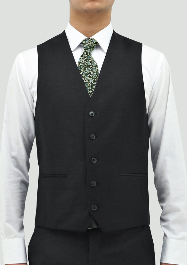 a front view of the daniel hechter slim fit ryan mens suit vest in charcoal pure wool STDH106-02