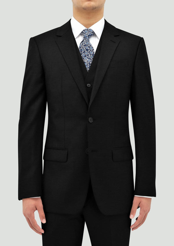 the daniel hechter ryan black mens waistcoat layered with the slim fit shape suit in black merino wool STD106-01