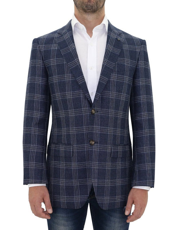 Daniel Hechter slim fit shadow blue check sports jacket in wool linen blend