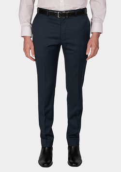 front view of the jjeff banks stretch wool mens suit trouser in navy blue wool blend K1022108
