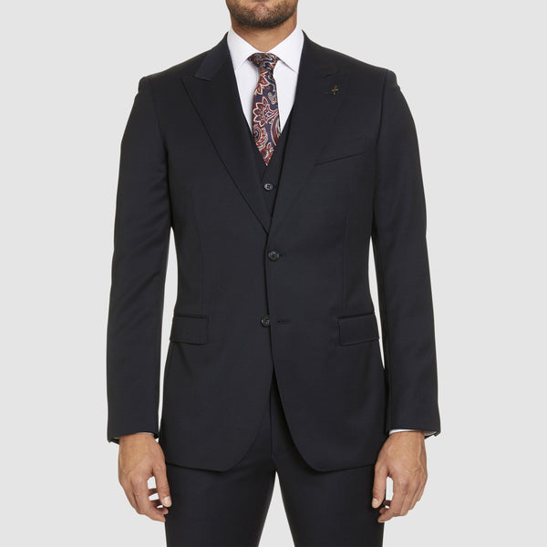 a front view of the studio italia slim fit lugano suit in navy pure wool ST-362-11