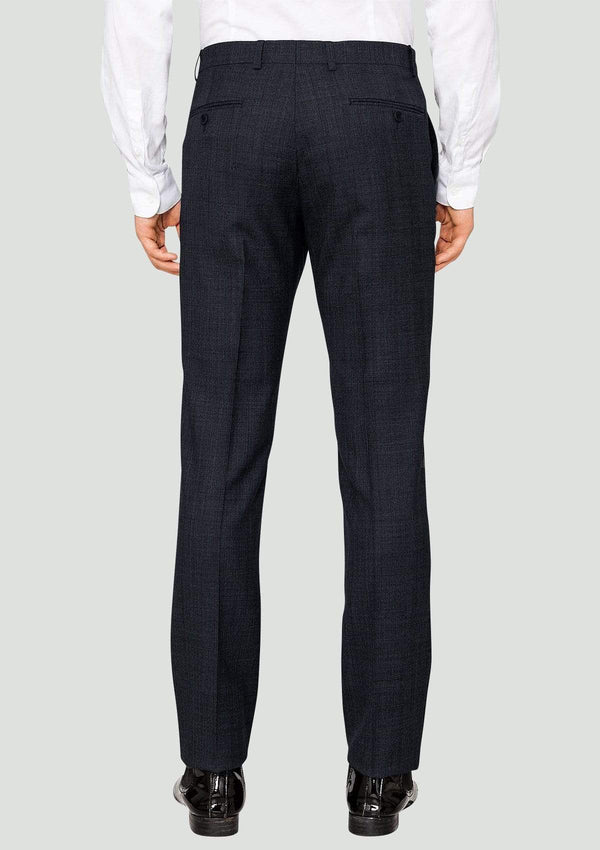 the back view of the ted baker slim fit elegan trouser in gunmetal check 1RL2004