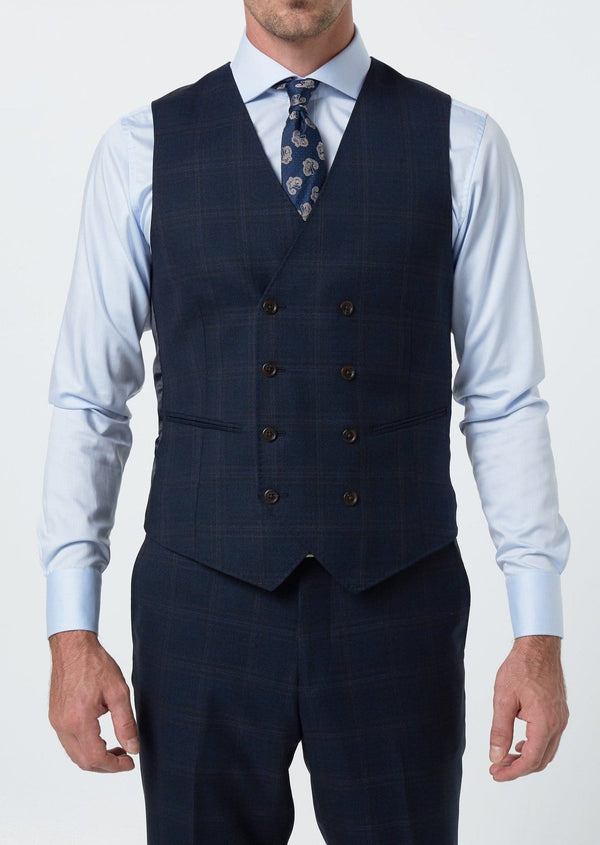 a front view of the wolf kanat slim fit mens suit vest in navy pure wool 8WK9009