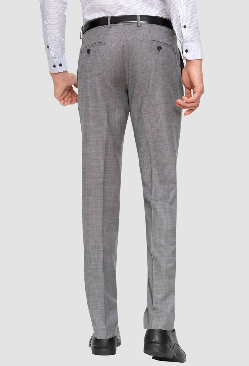 Gibson slim fit caper trouser in grey pure wool FGE645 back view