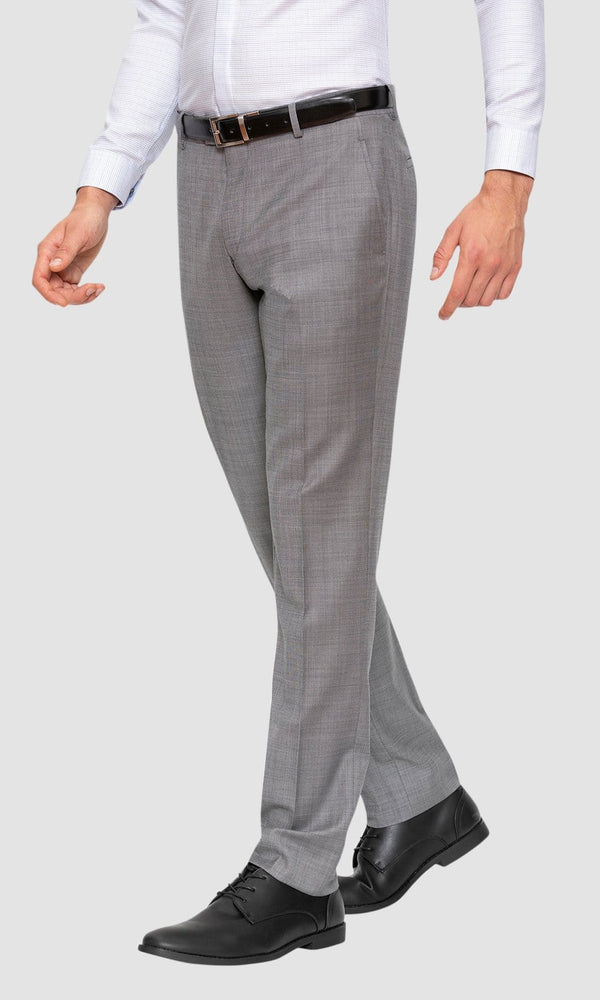 A side view of the Gibson slim fit caper trouser in grey pure wool FGE645