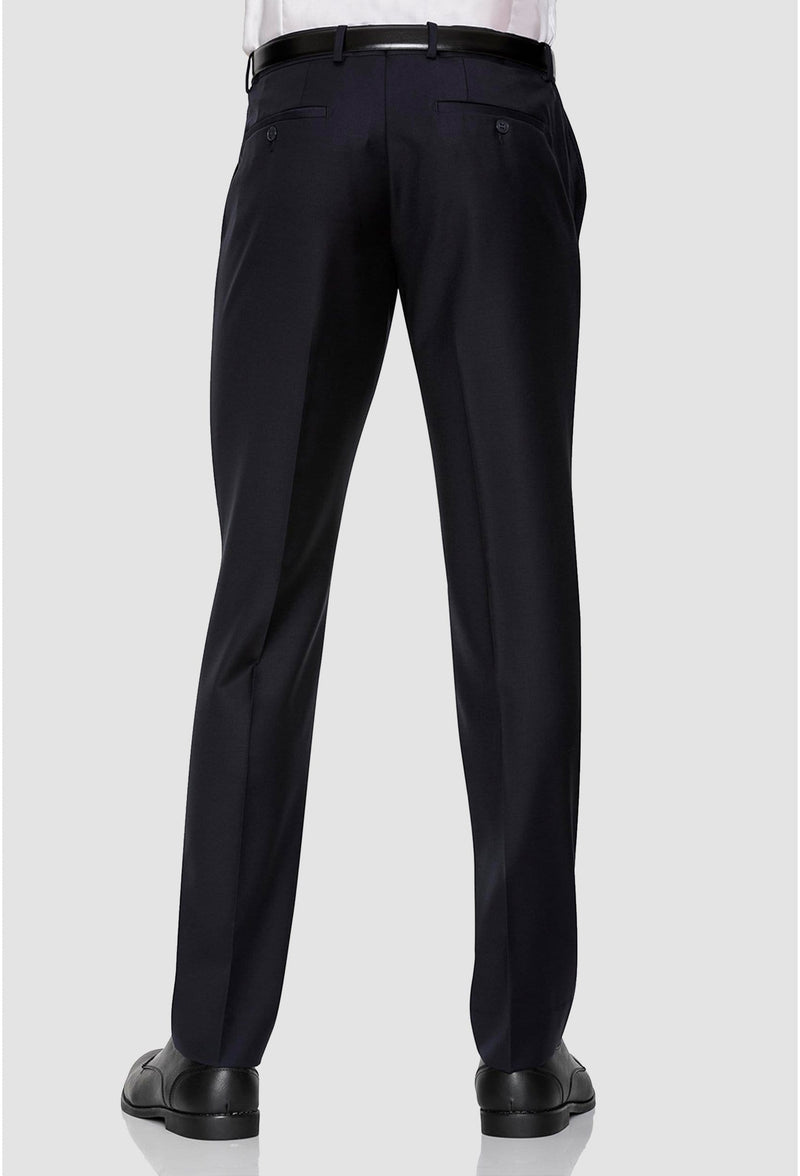 a reverse view of the Gibson slim fit caper trouser in navy pure wool FKC020T
