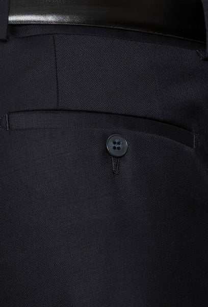 a close up view of the rear hip pocket detail on the Gibson slim fit caper trouser in navy pure wool FKC020T