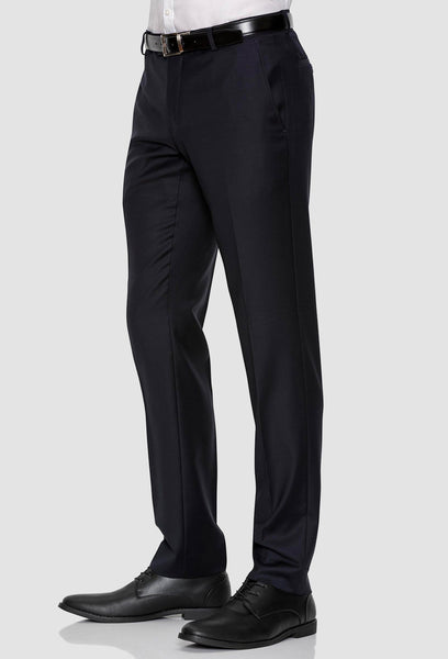 A side on view of the Gibson slim fit caper trouser in navy pure wool FKC020T