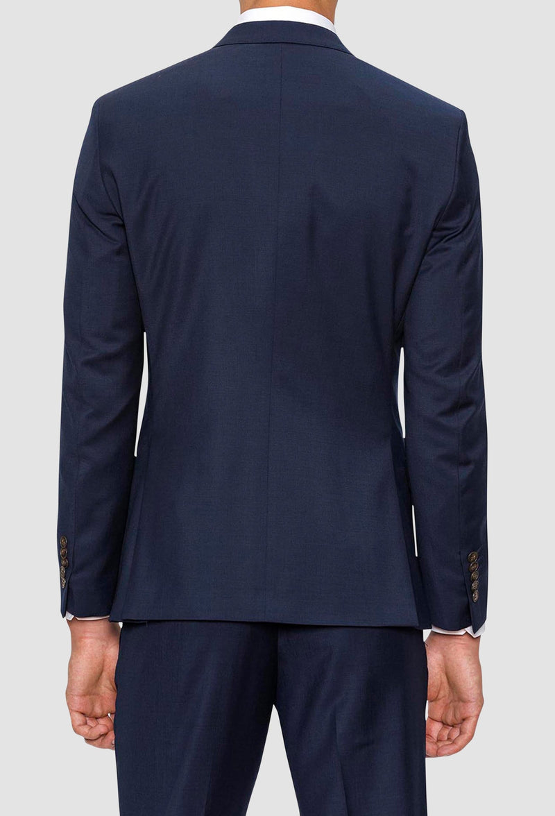 A reverse view of the Gibson slim fit delirium suit jacket in navy pure wool F3614