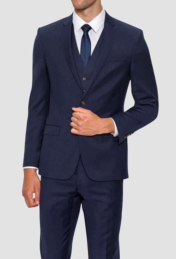 A front on view of the Gibson slim fit delirium suit jacket in navy pure wool F3614