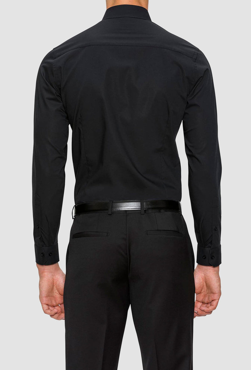 A back view of the Gibson slim fit fierce shirt in black FGC054