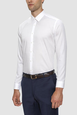 A front on view of the Gibson slim fit fierce shirt in white pure cotton FGW014