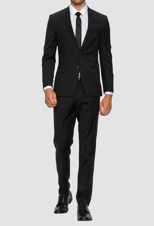 A full front view of the Gibson slim fit lithium suit in black pure wool F34087