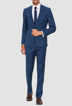 A full front view of the Gibson slim fit lithium suit in blue pure wool FGD019