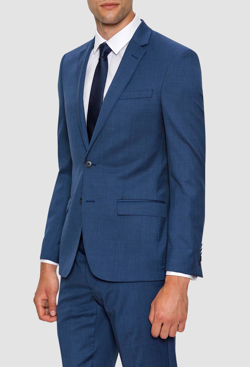 A side on view of the Gibson slim fit lithium suit in blue pure wool FGD019
