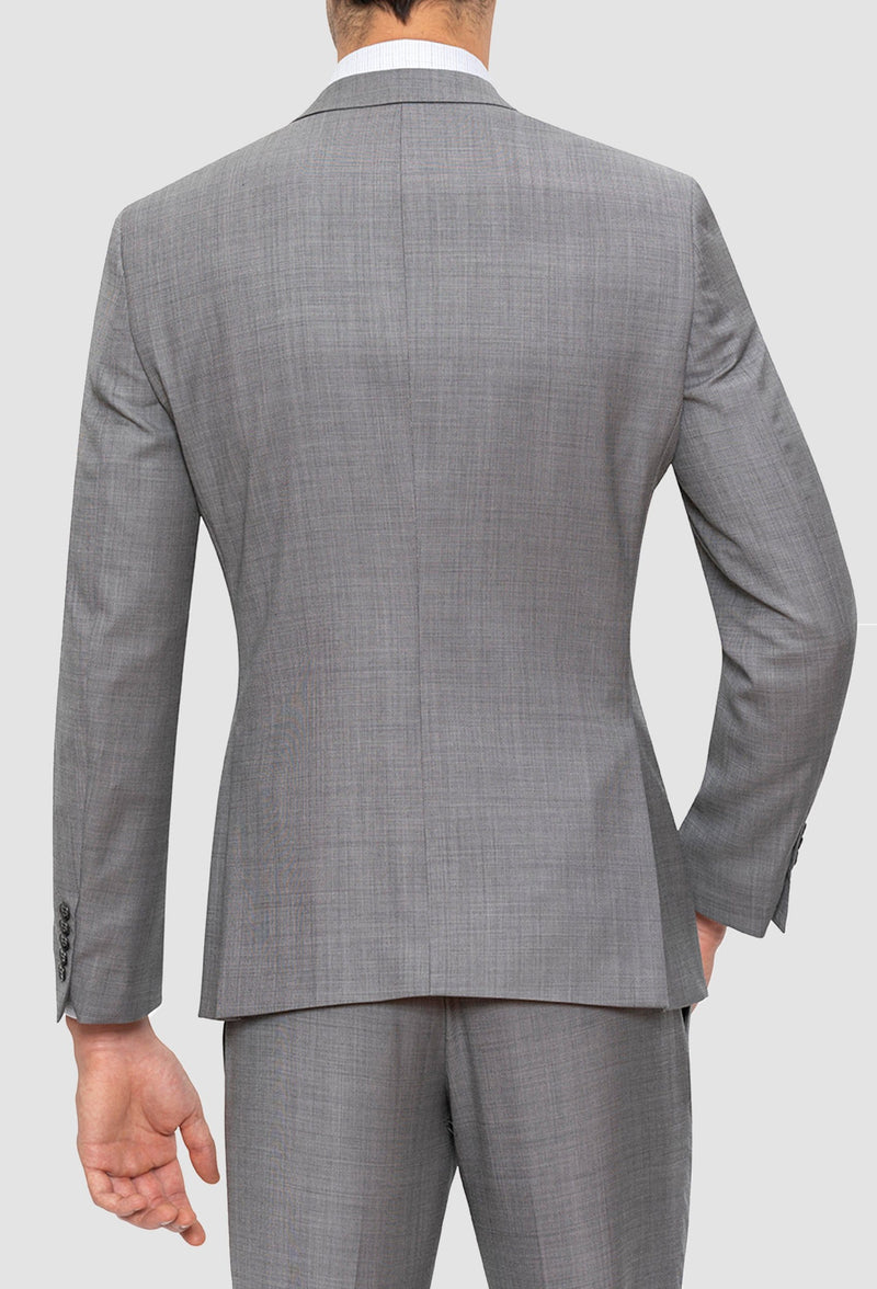 A reverse view of the Gibson slim fit lithium suit jacket in grey pure wool FGE645