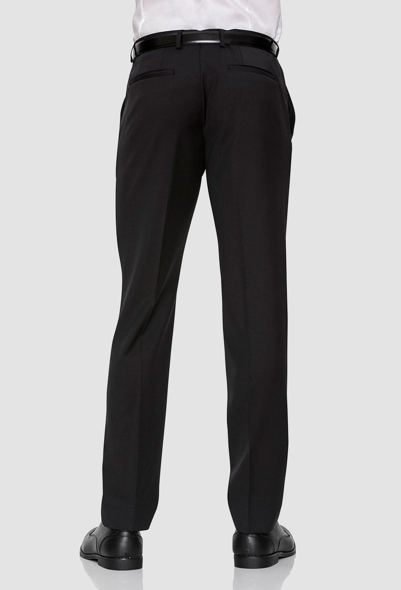 a reverse view of the gibson slim fit rebellion trouser in black pure wool F34087