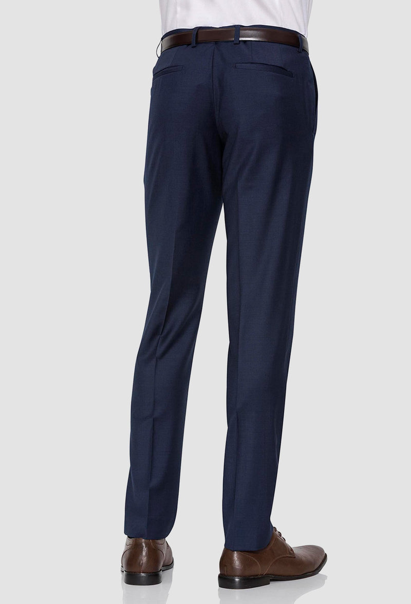 a back view of the gibson slim fit rebellion trouser in navy pure wool F3614 including the rear hip pockets