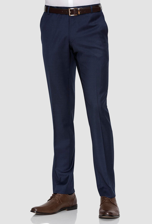 a front on view of the gibson slim fit rebellion trouser in navy pure wool F3614