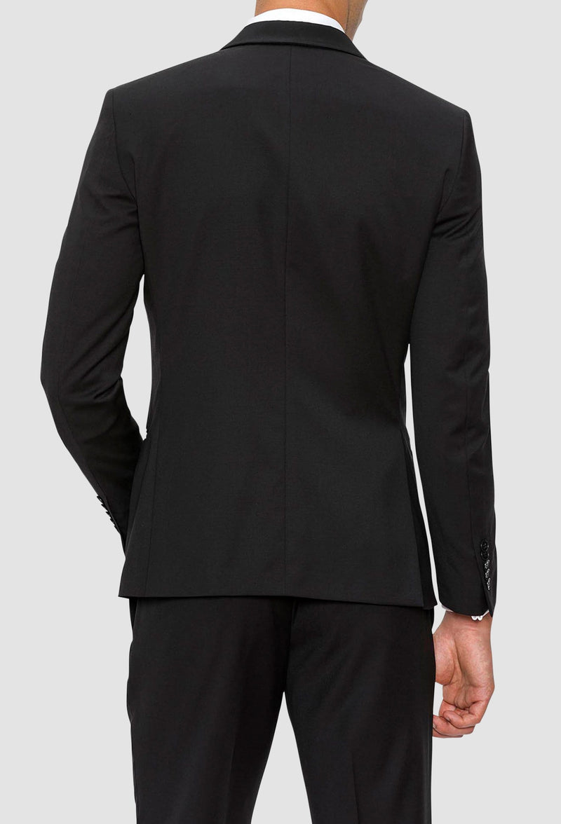 A reverse view of the Gibson slim fit spectre evening suit in black pure wool F34087