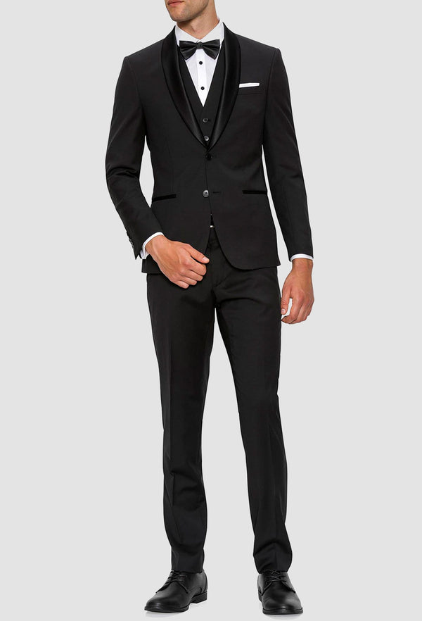 a full length view of the Gibson slim fit spectre evening suit with satin shawl lapel in black pure wool F34087