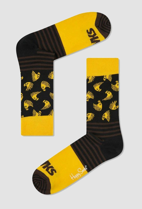 a pair of the happy socks afl hawthorn football team sock SCOL01-0100 laying on a grey background