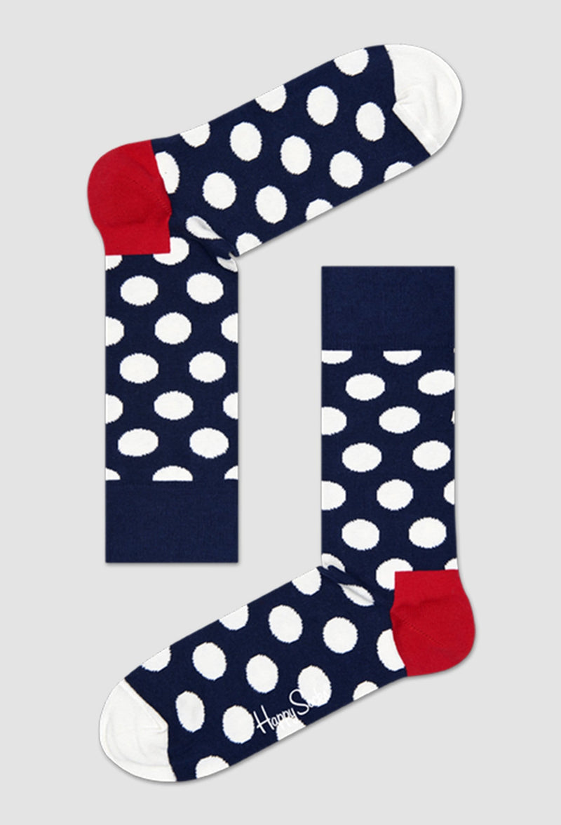a Birdseye view of happy socks big dot socks BD01-608 in navy blue lying on a grey background