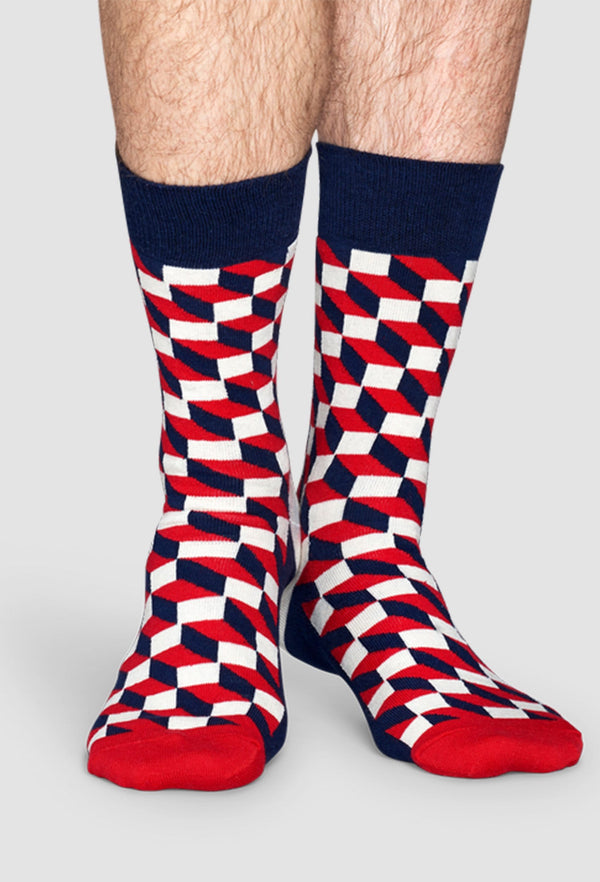 a model wears the Happy Socks filled optic sock in blue red and white FO01-068