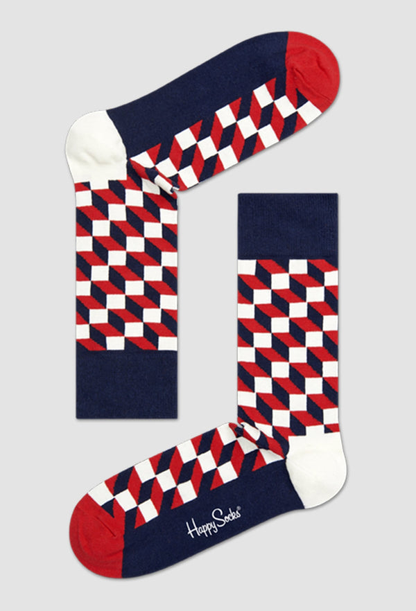 a pair of Happy Socks filled optic sock in blue red and white FO01-068 laying down on a grey background