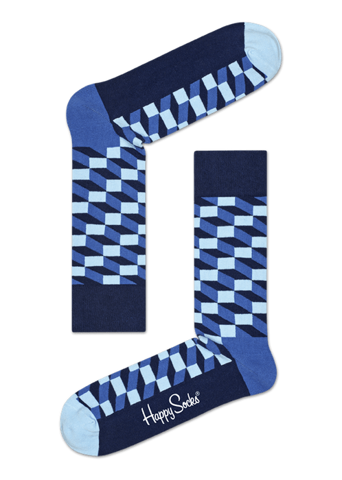 a pair of the Happy Socks filled optic sock in navy blue