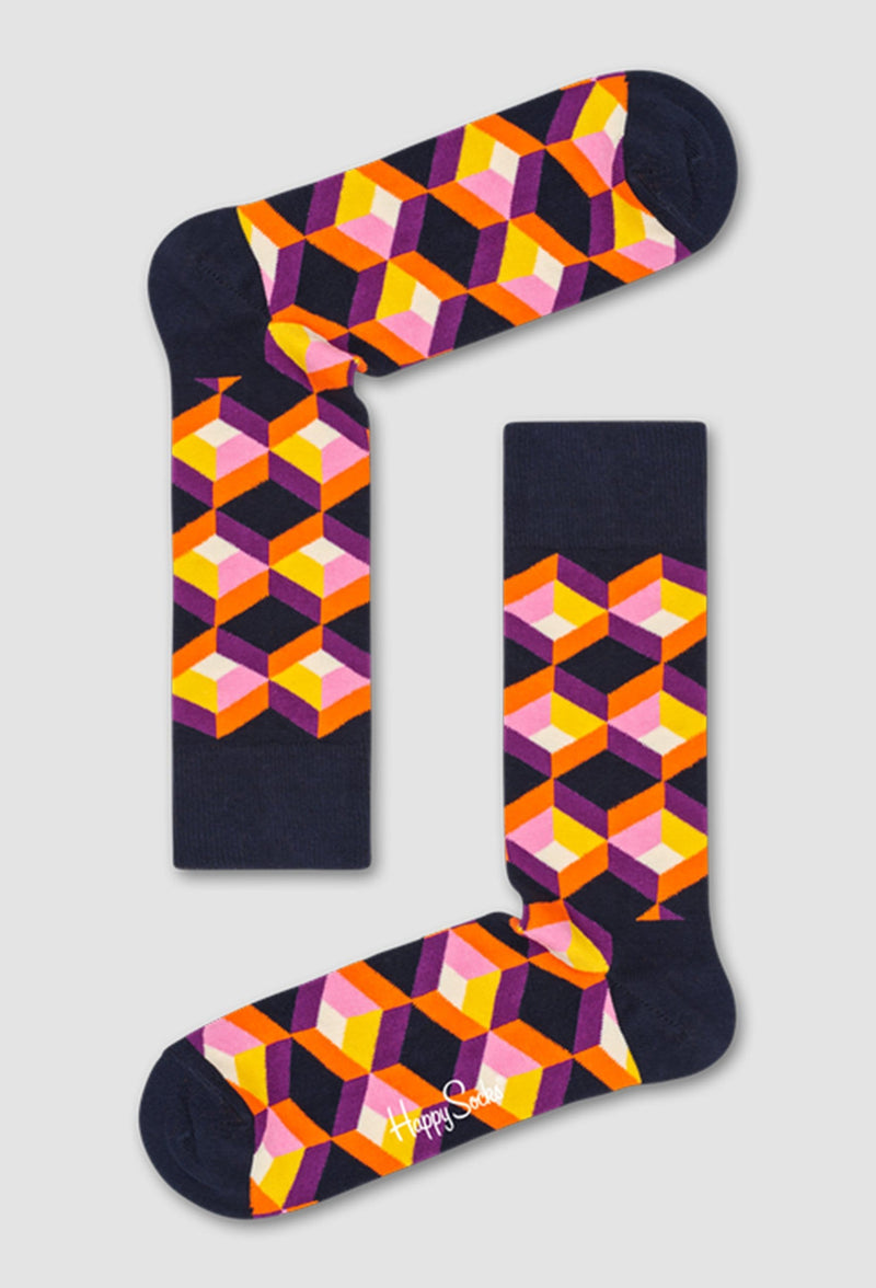 a pair of the Happy Socks optic square sock in purple black and orange lying on a grey background