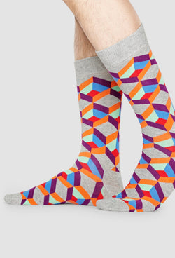 Happy Socks optic square sock in grey blue orange