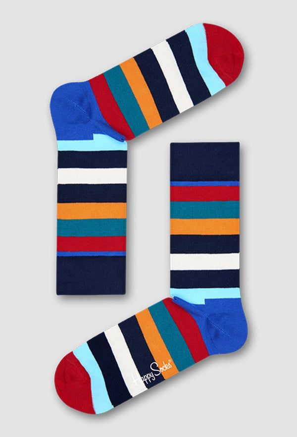 the happy socks stripe sock in multiple colours against a grey background