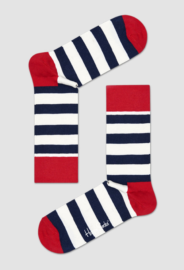 a Birdseye view of the Happy Socks stripe sock in navy red and white placed on a grey background