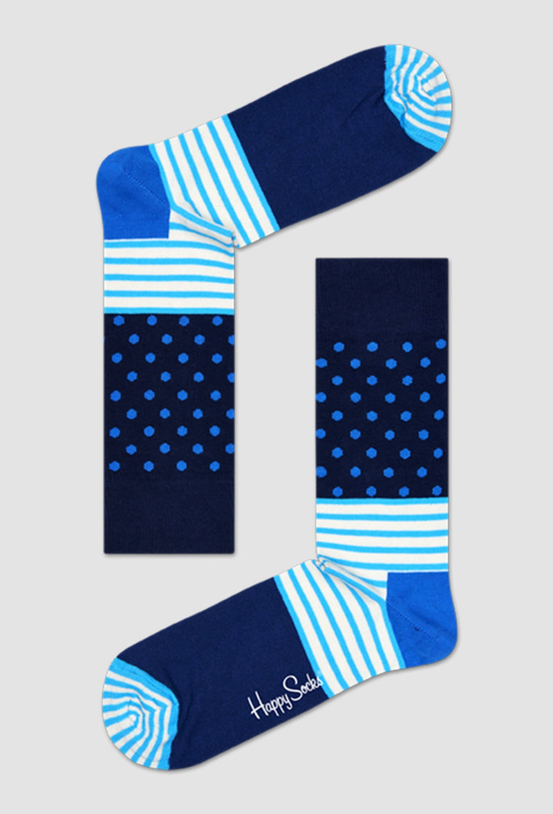 a pair of happy socks stripes and dots sock in blue SD01-066