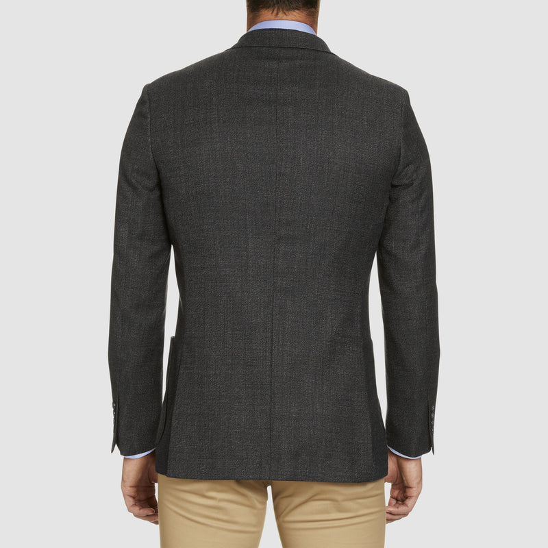 back view of the the studio italia slim fit clive sports jacket in charcoal wool  ST-460-41