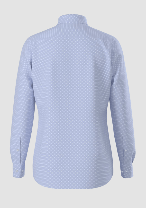 a front view of the 100% cotton mens kason shirt from boss showing the button cuff detail and blue print